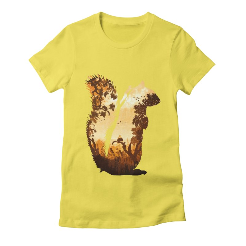 Squirrels in the Fall Women's Fitted T-Shirt by DVerissimo's