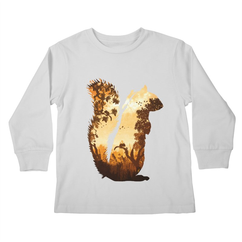Squirrels in the Fall Kids Longsleeve T-Shirt by DVerissimo's