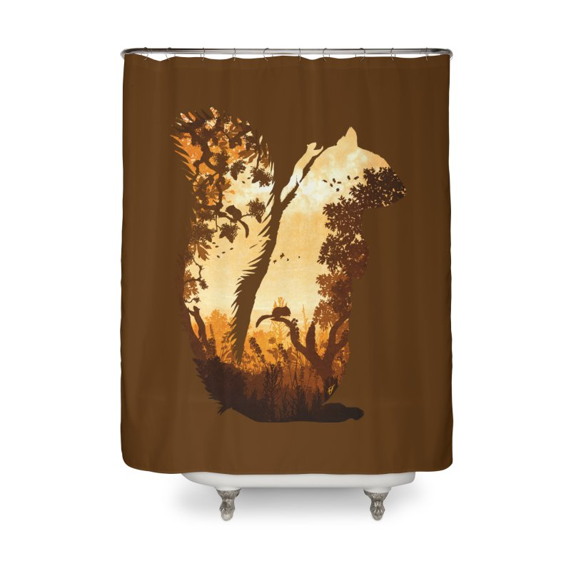 Squirrels in the Fall Home Shower Curtain by DVerissimo's