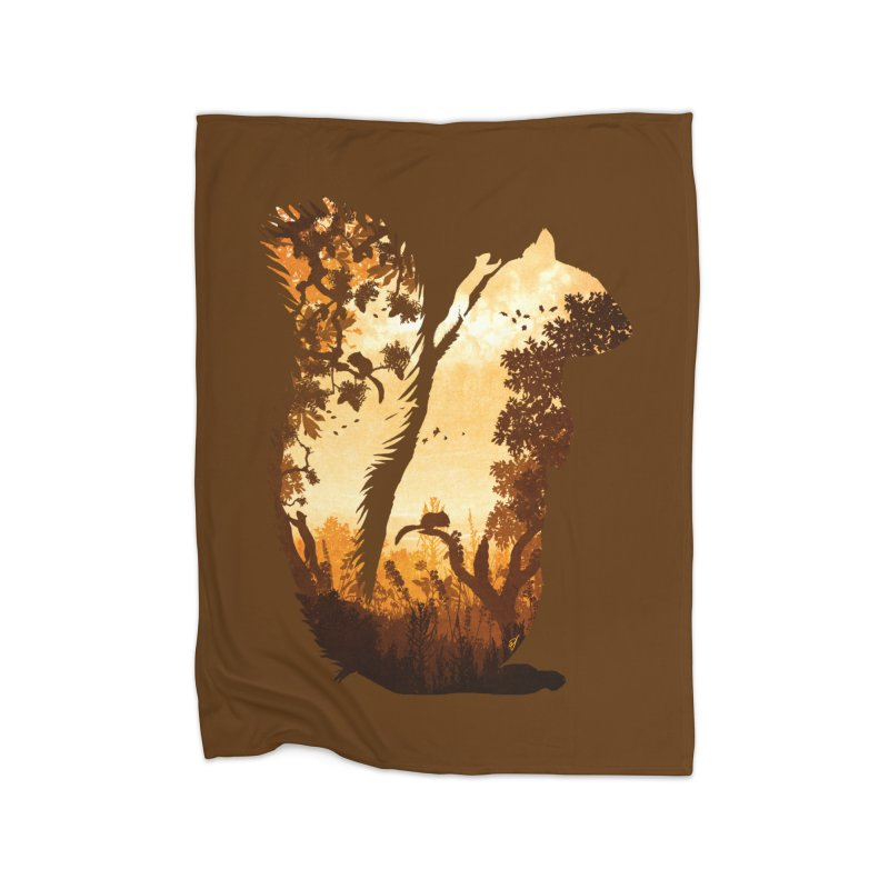 Squirrels in the Fall Home Fleece Blanket Blanket by DVerissimo's