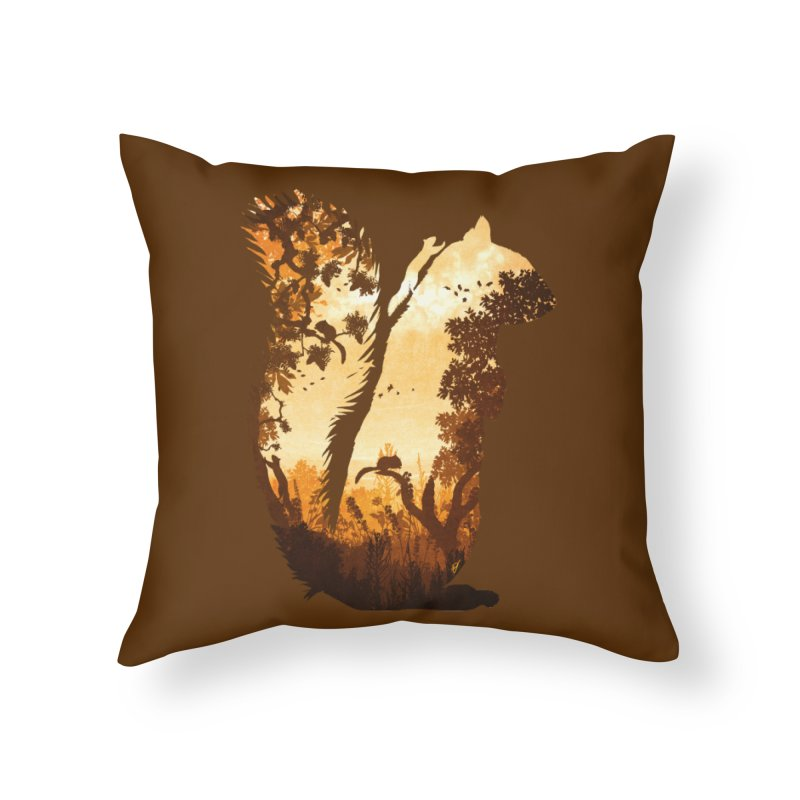 Squirrels in the Fall Home Throw Pillow by DVerissimo's