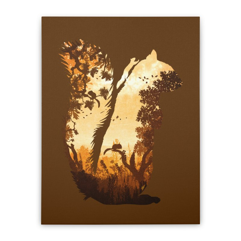 Squirrels in the Fall Home Stretched Canvas by DVerissimo's