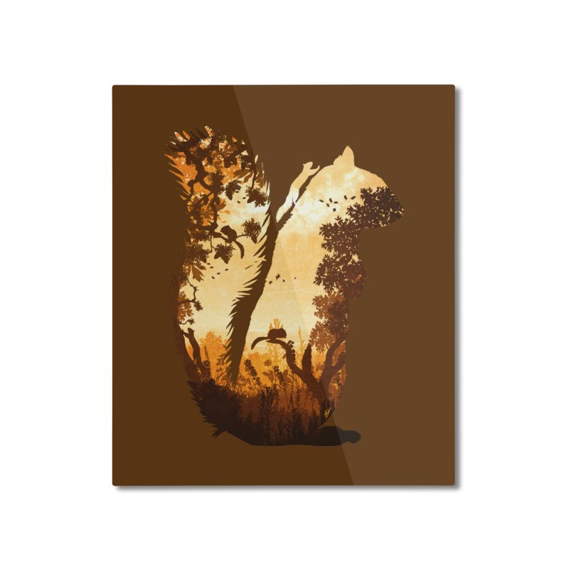 Squirrels in the Fall Home Mounted Aluminum Print by DVerissimo's