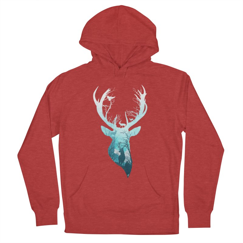 Deer Blue Winter Women's French Terry Pullover Hoody by DVerissimo's