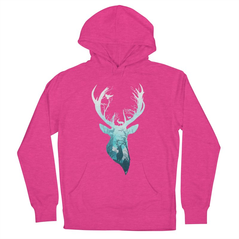 Deer Blue Winter Men's French Terry Pullover Hoody by DVerissimo's