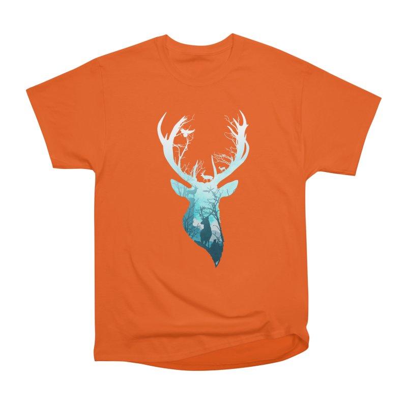 Deer Blue Winter Women's Heavyweight Unisex T-Shirt by DVerissimo's