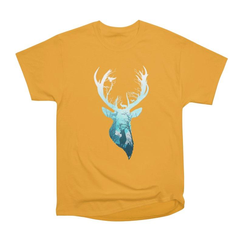 Deer Blue Winter Men's Heavyweight T-Shirt by DVerissimo's