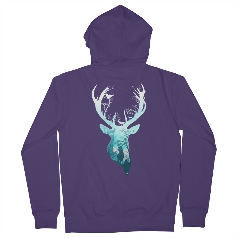 Deer Blue Winter Women's French Terry Zip-Up Hoody by DVerissimo's