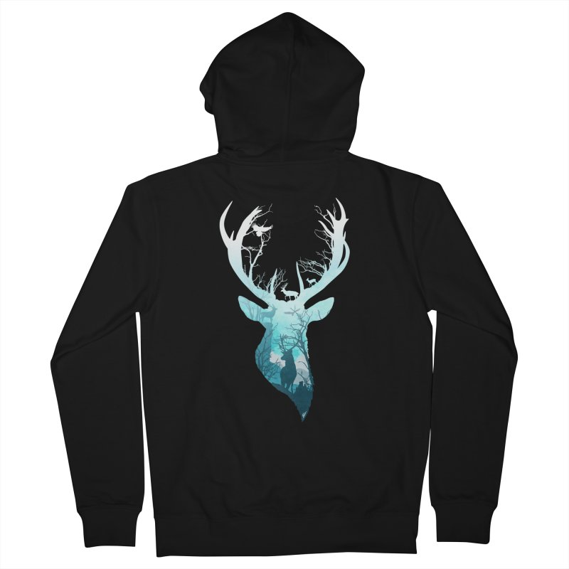 Deer Blue Winter Men's French Terry Zip-Up Hoody by DVerissimo's