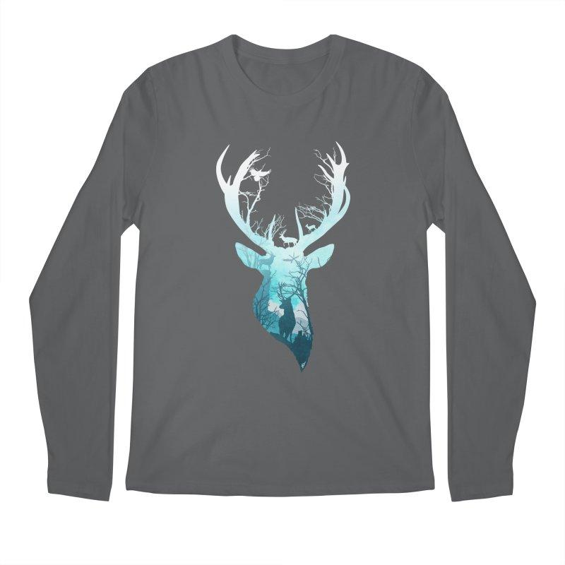Deer Blue Winter Men's Regular Longsleeve T-Shirt by DVerissimo's