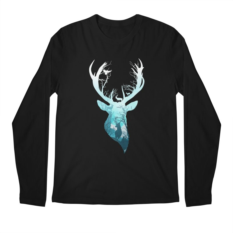 Deer Blue Winter Men's Regular Longsleeve T-Shirt by DVerissimo's