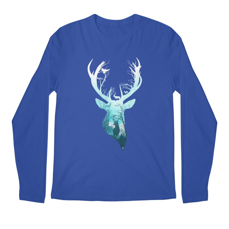 Deer Blue Winter Men's Longsleeve T-Shirt by DVerissimo's