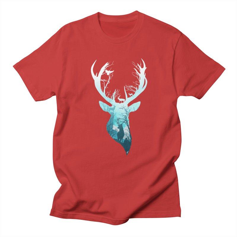 Deer Blue Winter Men's Regular T-Shirt by DVerissimo's