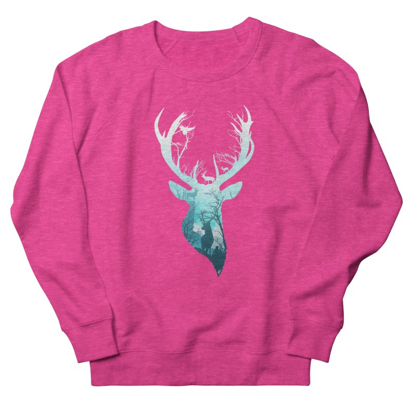 Deer Blue Winter Men's French Terry Sweatshirt by DVerissimo's