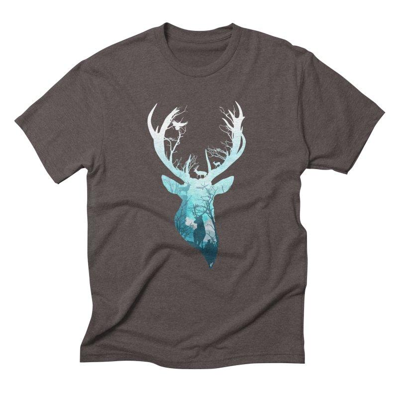 Deer Blue Winter Men's Triblend T-Shirt by DVerissimo's