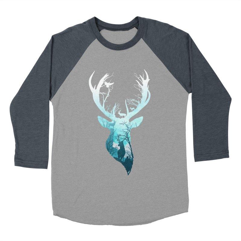 Deer Blue Winter Women's Baseball Triblend Longsleeve T-Shirt by DVerissimo's