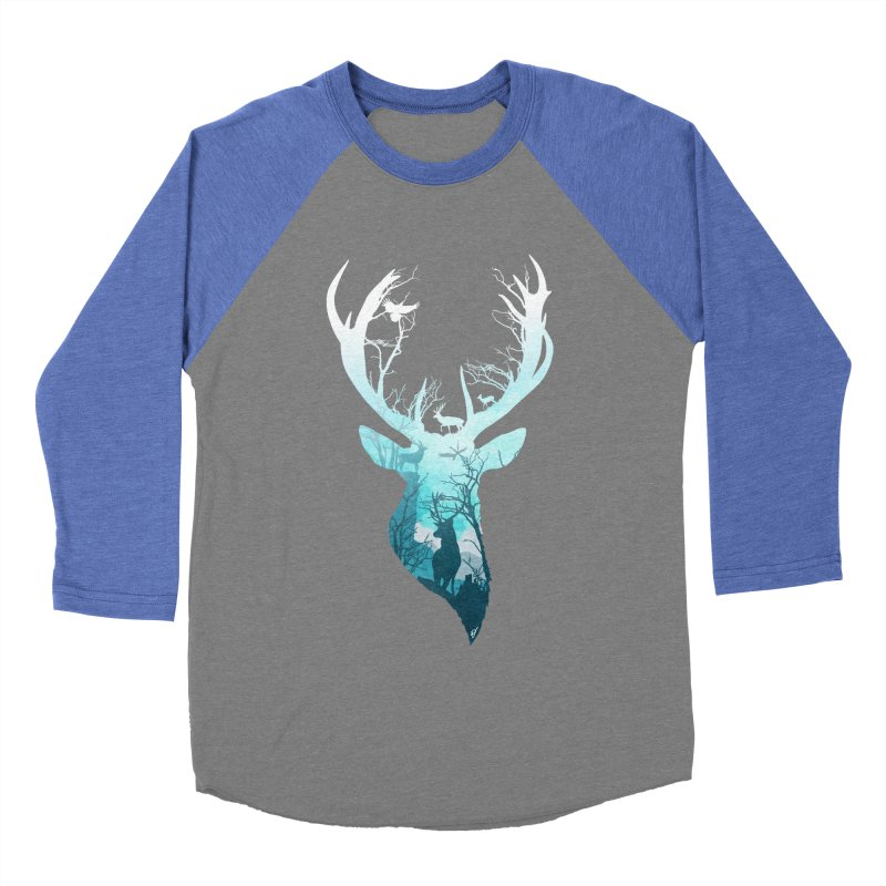 Deer Blue Winter Men's Baseball Triblend T-Shirt by DVerissimo's