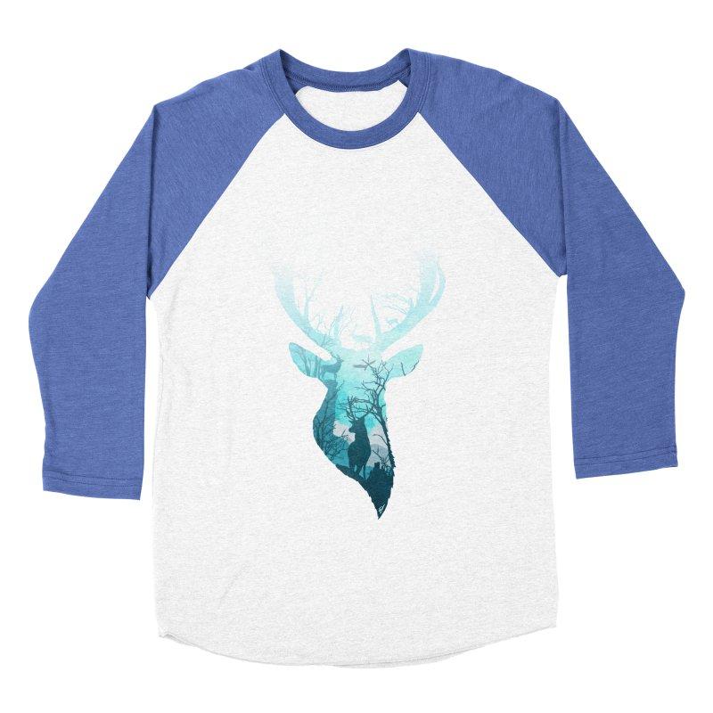 Deer Blue Winter Men's Baseball Triblend Longsleeve T-Shirt by DVerissimo's