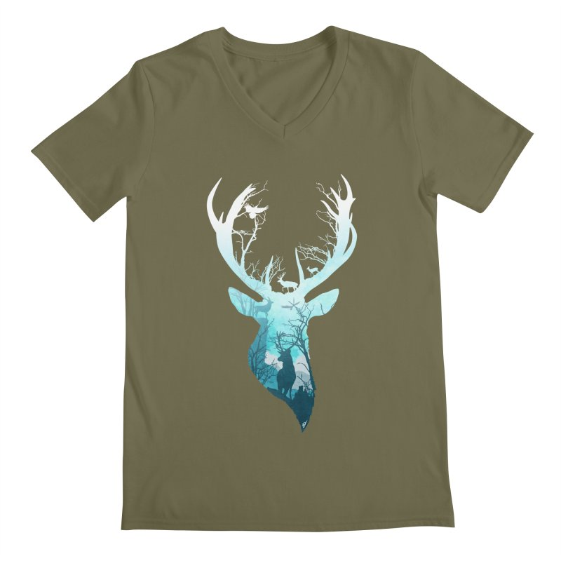 Deer Blue Winter Men's Regular V-Neck by DVerissimo's