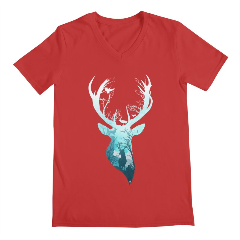 Deer Blue Winter Men's Regular V-Neck by DVerissimo's