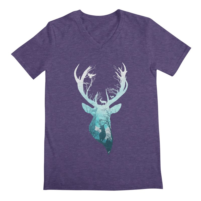 Deer Blue Winter Men's V-Neck by DVerissimo's