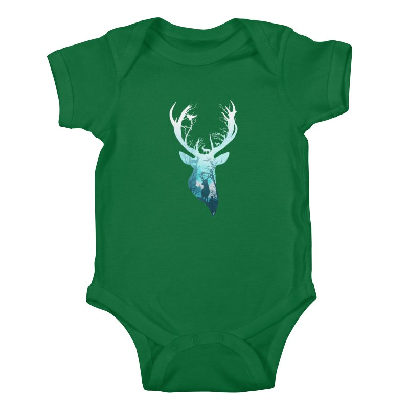 Deer Blue Winter Kids Baby Bodysuit by DVerissimo's