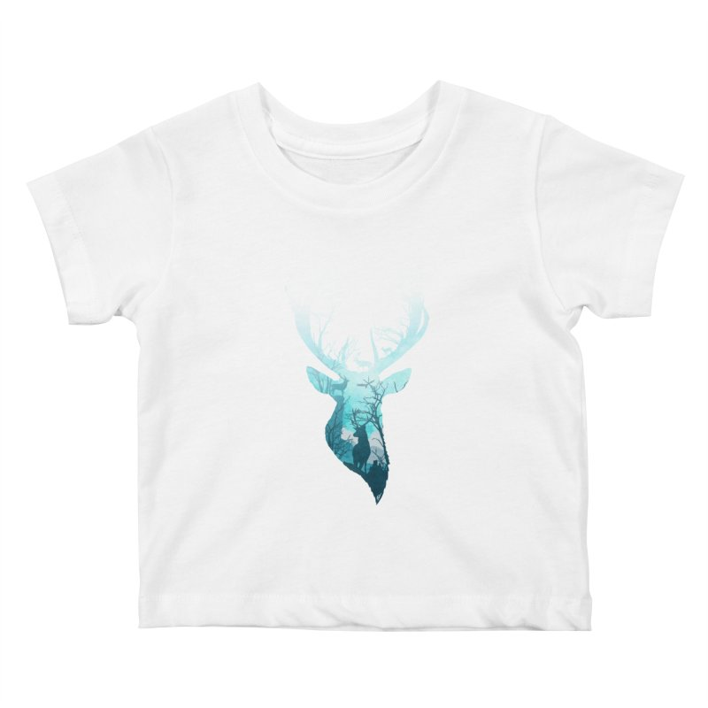 Deer Blue Winter Kids Baby T-Shirt by DVerissimo's