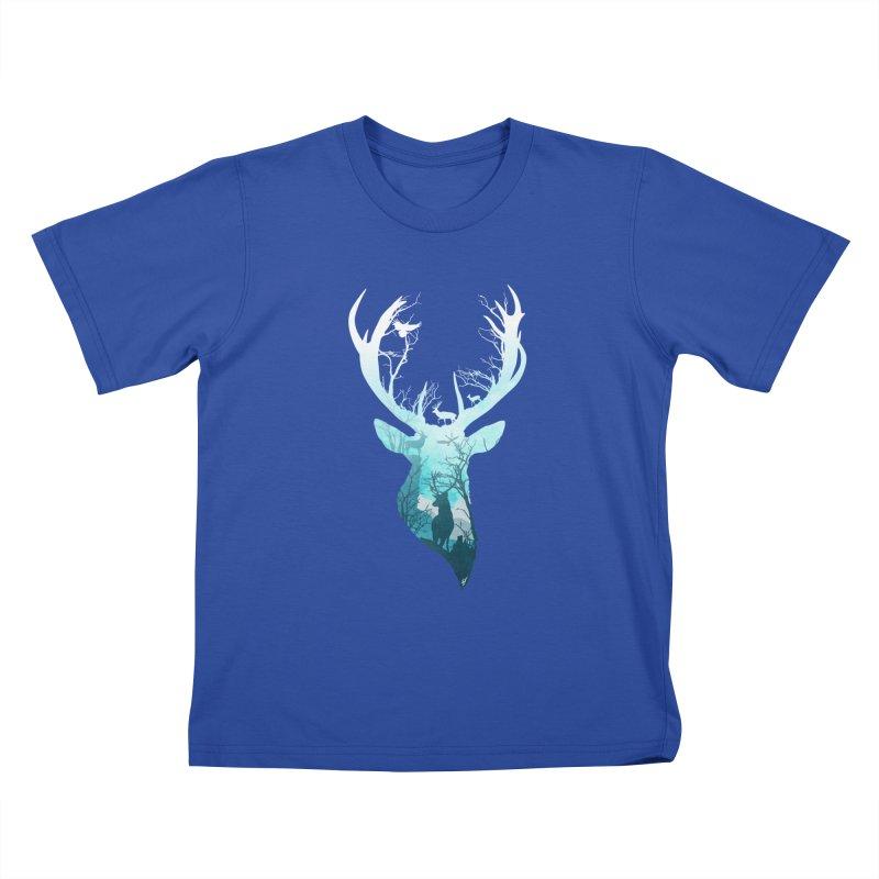 Deer Blue Winter Kids T-Shirt by DVerissimo's