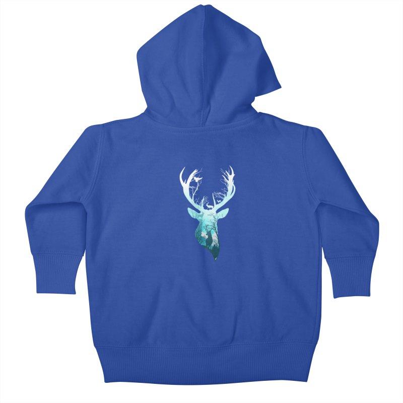 Deer Blue Winter Kids Baby Zip-Up Hoody by DVerissimo's
