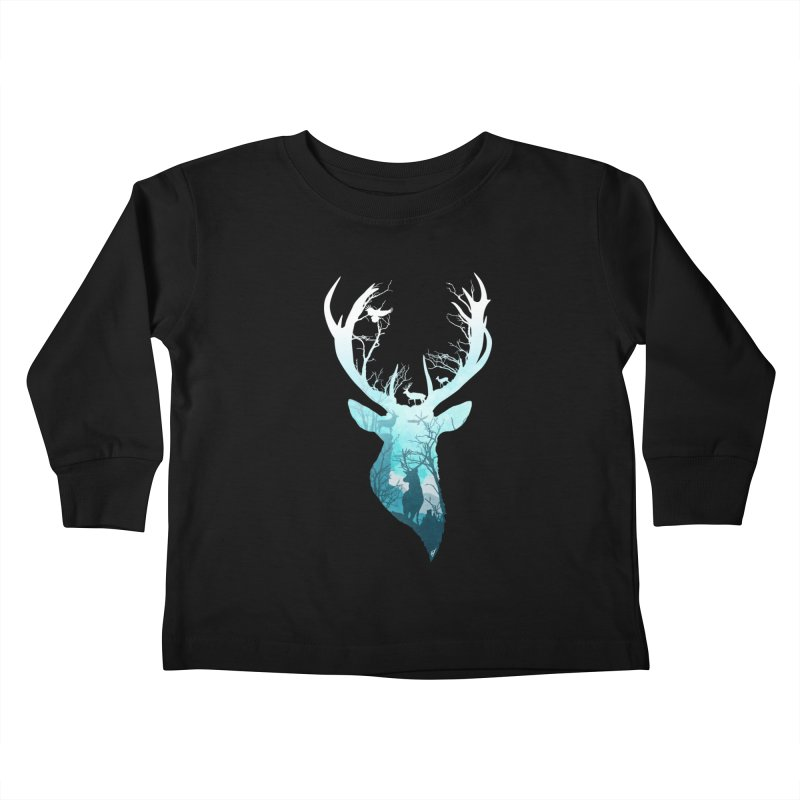 Deer Blue Winter Kids Toddler Longsleeve T-Shirt by DVerissimo's