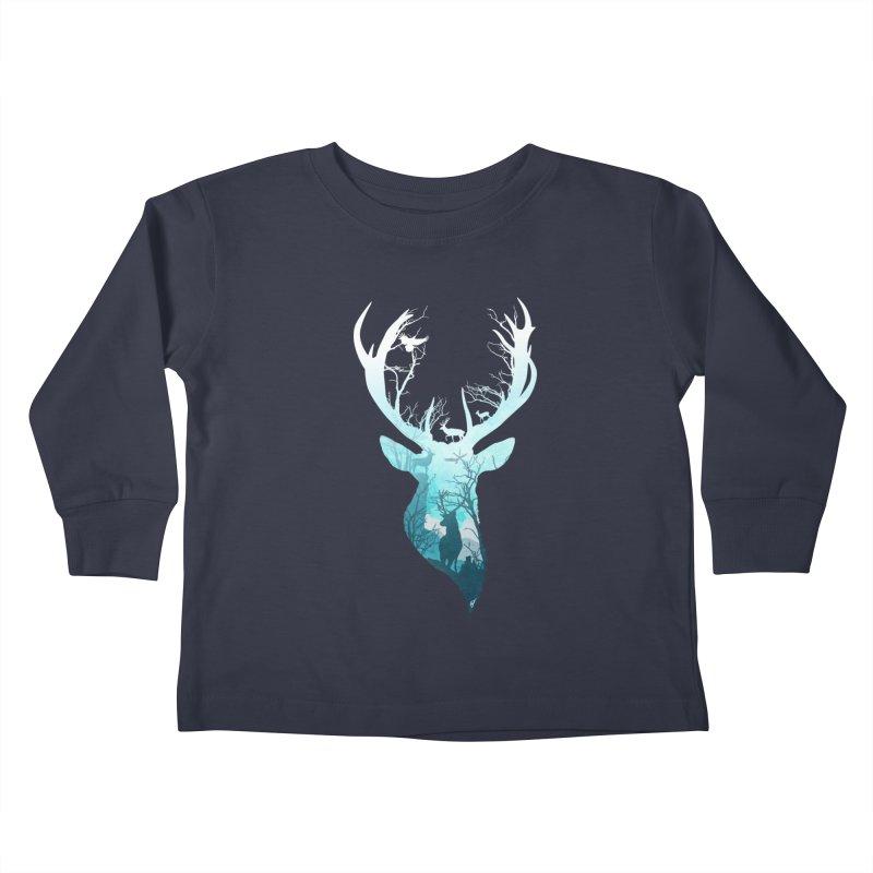 Deer Blue Winter Kids Toddler Longsleeve T-Shirt by DVerissimo's