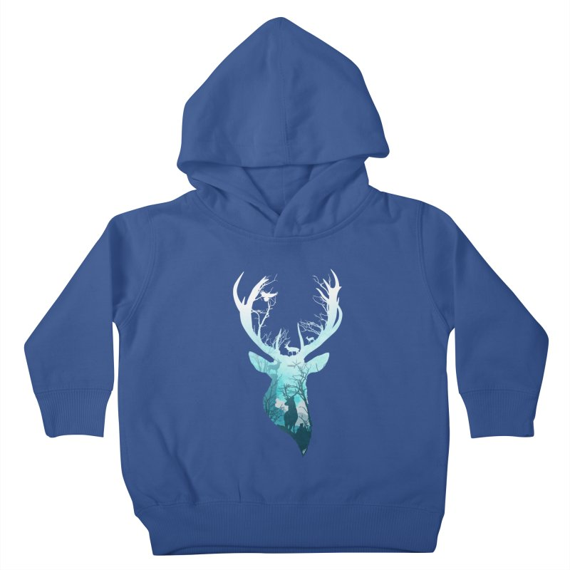 Deer Blue Winter Kids Toddler Pullover Hoody by DVerissimo's
