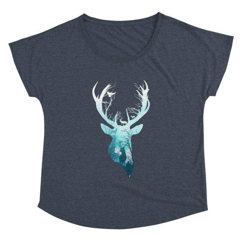 Deer Blue Winter Women's Dolman Scoop Neck by DVerissimo's