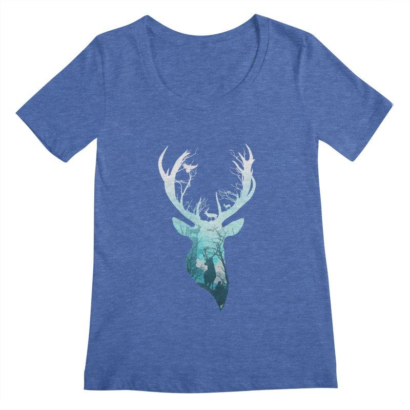 Deer Blue Winter Women's Regular Scoop Neck by DVerissimo's