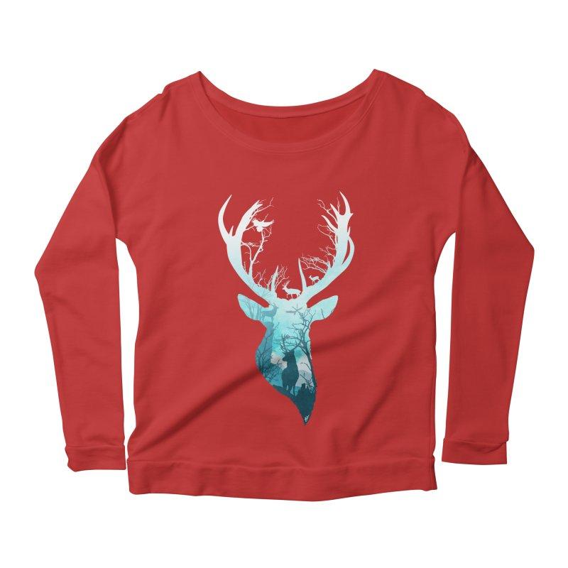 Deer Blue Winter Women's Longsleeve Scoopneck  by DVerissimo's