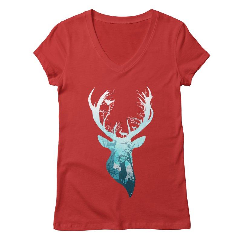 Deer Blue Winter Women's Regular V-Neck by DVerissimo's