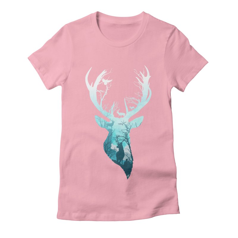 Deer Blue Winter Women's Fitted T-Shirt by DVerissimo's