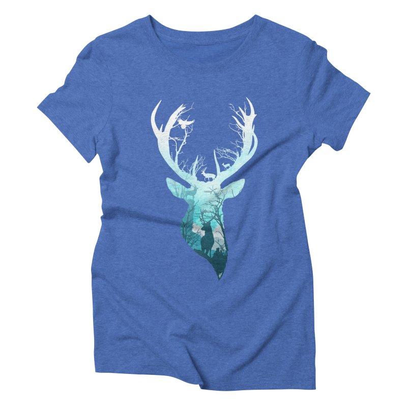 Deer Blue Winter Women's Triblend T-Shirt by DVerissimo's