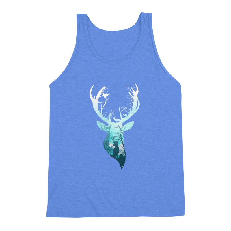Deer Blue Winter Men's Triblend Tank by DVerissimo's