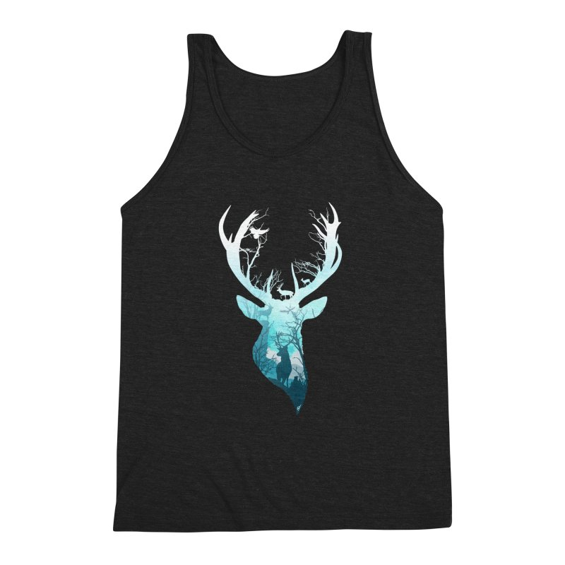 Deer Blue Winter Men's Triblend Tank by DVerissimo's