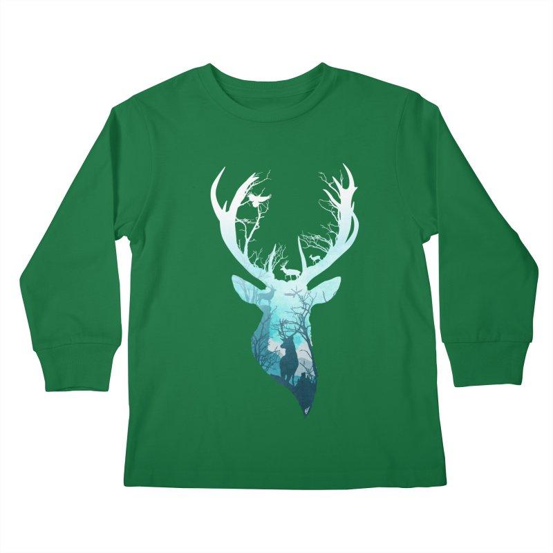 Deer Blue Winter Kids Longsleeve T-Shirt by DVerissimo's