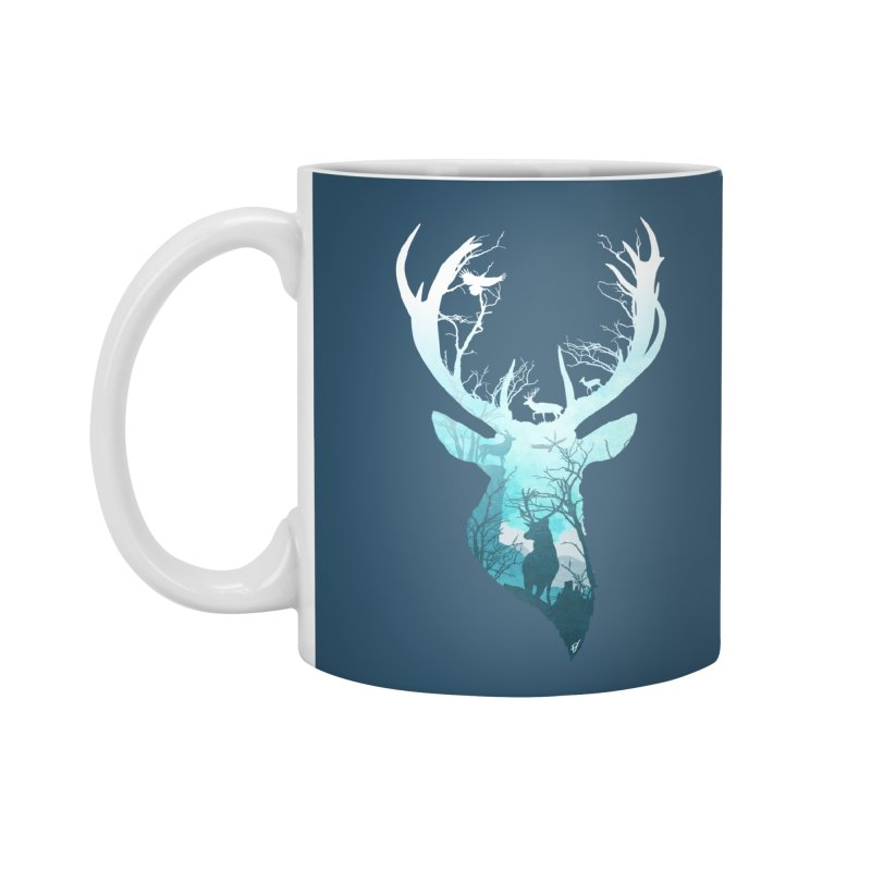 Deer Blue Winter Accessories Standard Mug by DVerissimo's