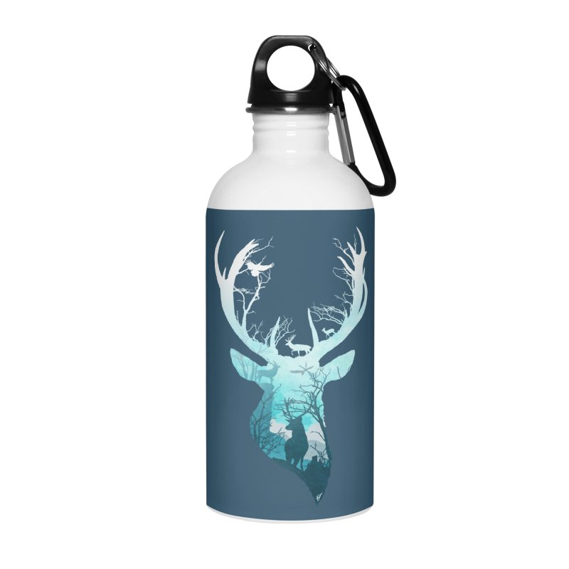 Deer Blue Winter Accessories Water Bottle by DVerissimo's