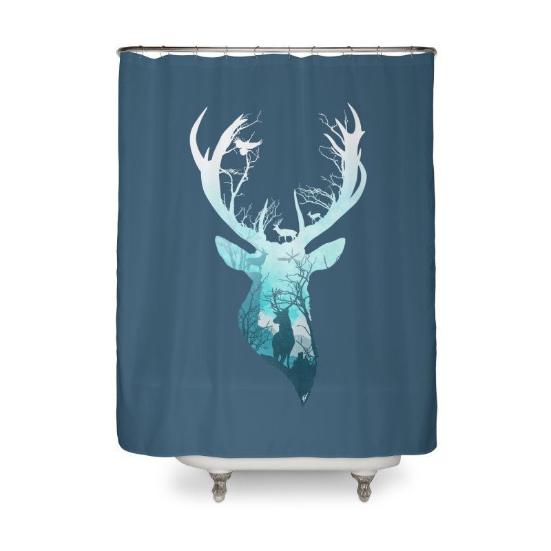 Deer Blue Winter Home Shower Curtain by DVerissimo's