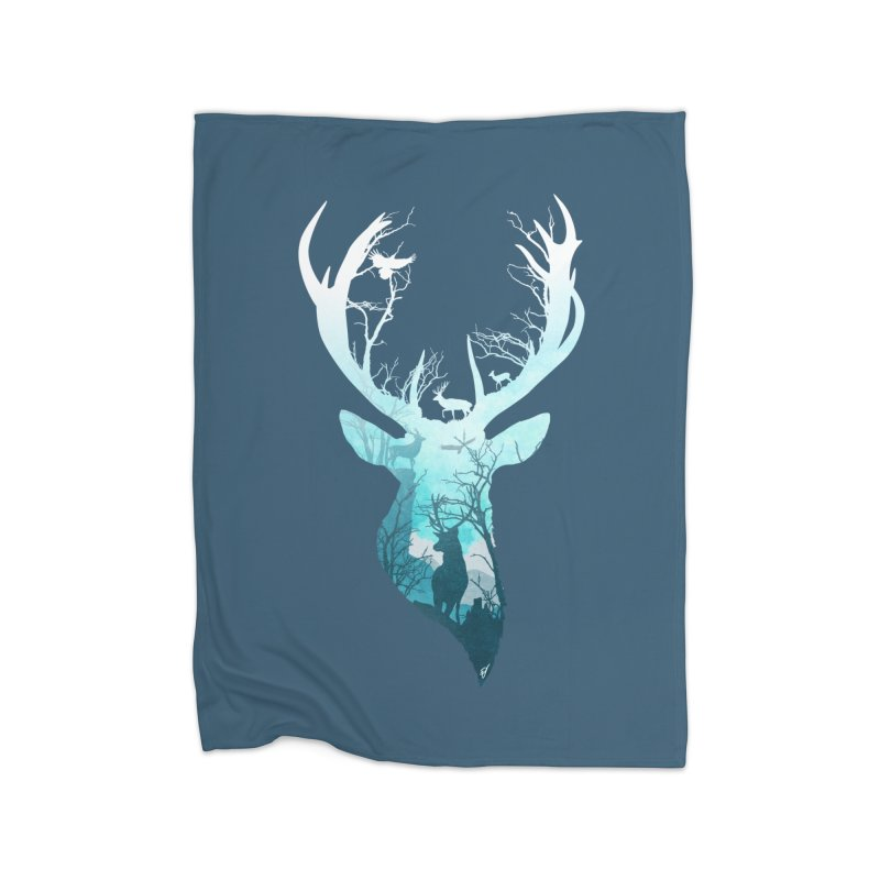 Deer Blue Winter Home Blanket by DVerissimo's