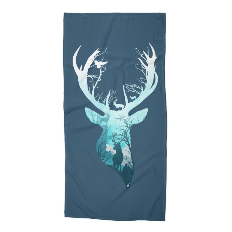 Deer Blue Winter Accessories Beach Towel by DVerissimo's