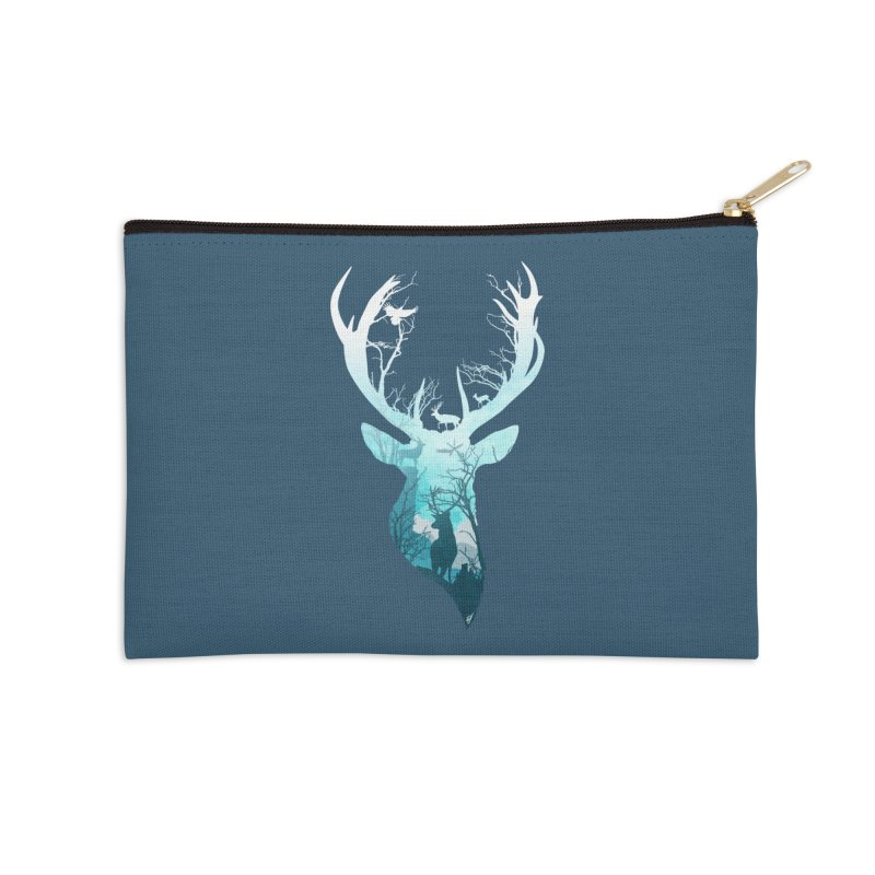 Deer Blue Winter Accessories Zip Pouch by DVerissimo's