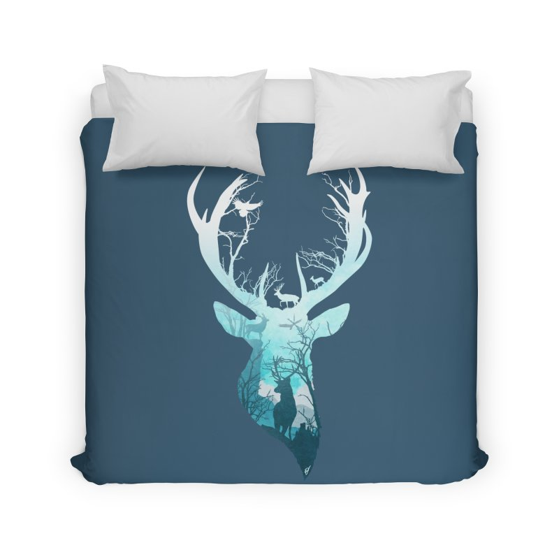 Deer Blue Winter Home Duvet by DVerissimo's