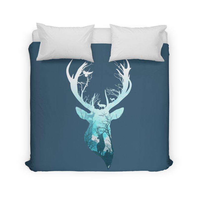 Deer Blue Winter Home Duvet by DVerissimo's
