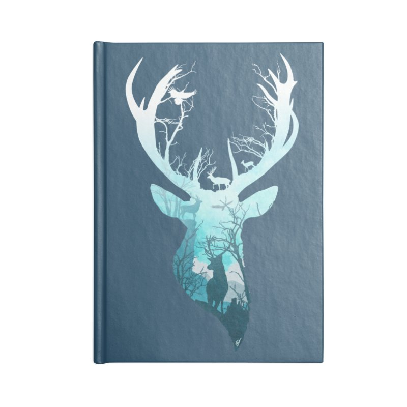 Deer Blue Winter Accessories Lined Journal Notebook by DVerissimo's